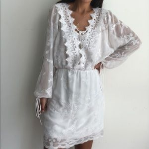 WHBM Emrboidered lace up dress